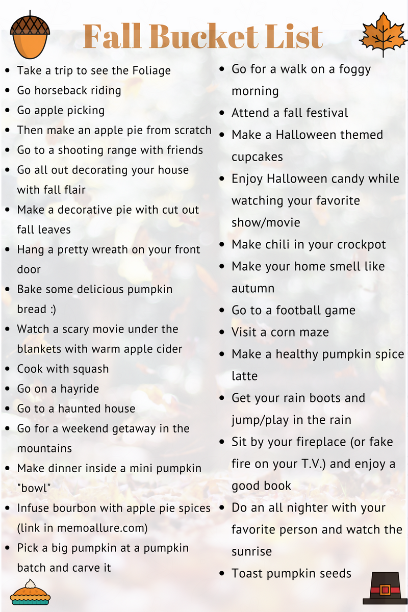 30 things to do this fall - fall bucket list